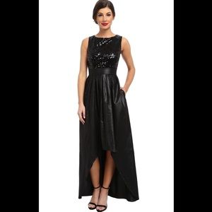 Ellen Tracy sequin black high low formal dress